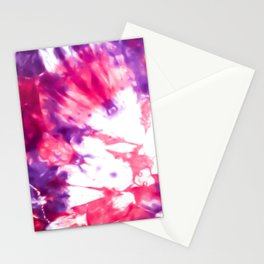 Modern Artsy Abstract Neon Pink Purple Tie Dye Stationery Cards