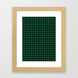 Black and Cadmium Green Diamonds Framed Art Print