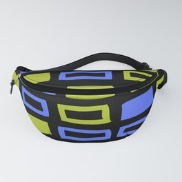 Mid Century Modern Abstract Squares Pattern 741 Chartreuse Blue and Black Fanny Pack