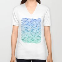 waves V-neck T-shirts featuring Ombré Waves by Cat Coquillette