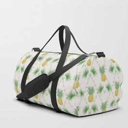 Exotic tropical  pattern with palm branches and pineapples . Duffle Bag