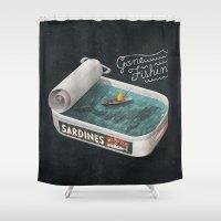 jon snow Shower Curtains featuring Gone Fishin' by Seaside Spirit