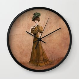 Woman in yellow dress Edwardian Era in Fashion Wall Clock