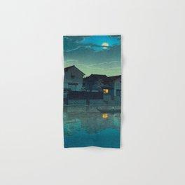 Kawase Hasui Vintage Japanese Woodblock Print Japanese Village Under Moonlight Cloudy Sky Hand & Bath Towel
