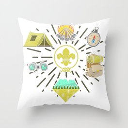 Scout Campfire Camp Compass Hiking Adventure Nature Gift Throw Pillow