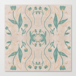 Floral Symmetry Pattern in Teal Canvas Print