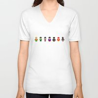 justice league V-neck T-shirts featuring Pixel League of Justice by PixelAvenger