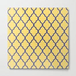Classic Quatrefoil Lattice Pattern 737 Blue and Yellow Metal Print