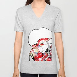 Woman wears a traditional kimono, Body tied by rope, Shibari, Japanese BDSM art, Fashion illusration Unisex V-Neck