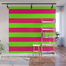 Bright Neon Green and Pink Horizontal Cabana Tent Stripes Wall Mural