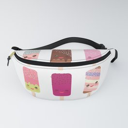 set ice cream, ice lolly Kawaii with pink cheeks and winking eyes, pastel colors Fanny Pack