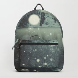 Moments of Silence - Snowflakes over the river Backpack