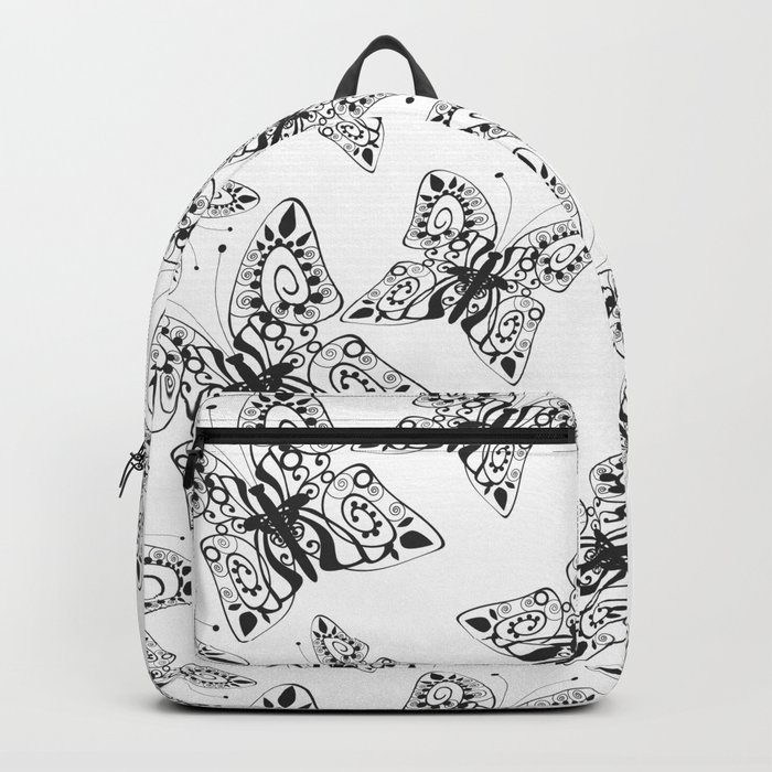 Black and white pattern . Butterfly 1 . Backpack