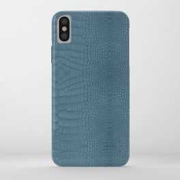 Turquoise Alligator Leather Print iPhone Case