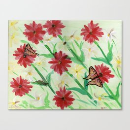 Daisies Butterflies Katydid Red Green and White Canvas Print