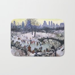 Vintage Central Park Skating Painting Bath Mat