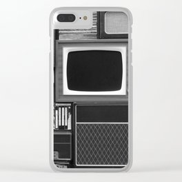 Everything Retro (Black and White) Clear iPhone Case