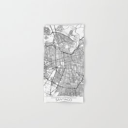 Santiago Map White Hand & Bath Towel