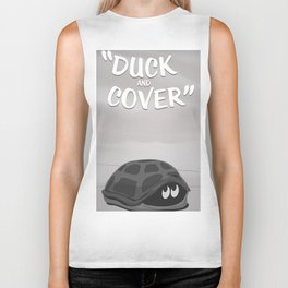 Duck and Cover Vintage Atomic Poster Biker Tank