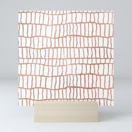 Abstract geometrical faux rose gold stripes Mini Art Print