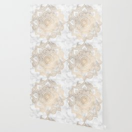 Marble Gold Mandala Design Wallpaper
