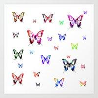 butterflies Art Prints featuring Butterflies. by haroulita