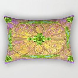 Lilac-Gold Green Peridot Gems August Birthstone Design Rectangular Pillow