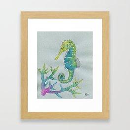Neon Seahorse Framed Art Print