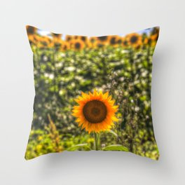 The Lonesome Sunflower Throw Pillow