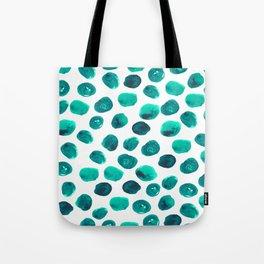 Esme - painted brushstroke emerald jade mint dots polka dots pattern design  Tote Bag
