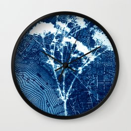 Fragments of the Past (27), art print, collage, blue print, cyanotype print, wall art, wall decor Wall Clock