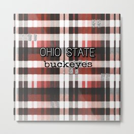 Ohio State Buckeye Plaid Metal Print