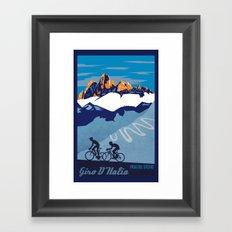 Retro Giro D'Italia scenic cycling poster Framed Art Print