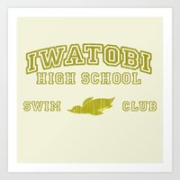 iwatobi Art Prints featuring Iwatobi - Penguin by drawn4fans