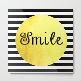 Smile Print Black, White & Gold Metal Print