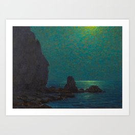 Granville Redmond Catalina Island Coast Under a Moonlit Sky Oil Painting Vintage American Art Art Print