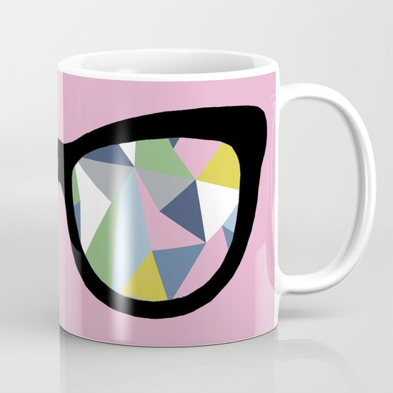 Abstract Eyes on Pink Mug