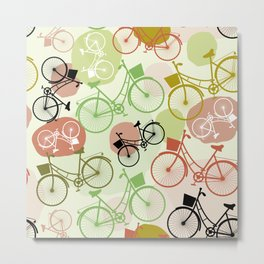 Vintage bicycles, seamless pattern, pastel green brown beige colors Metal Print