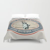 religious Duvet Covers featuring Defend Religious Liberty by politics