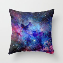 Blue Glitter Galaxy Throw Pillow