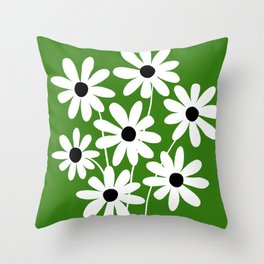 Simple Naive Flowers Green White Throw Pillow