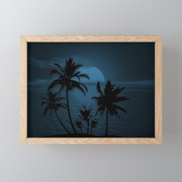 Twilight Moon on Exotic Tropical Island Framed Mini Art Print