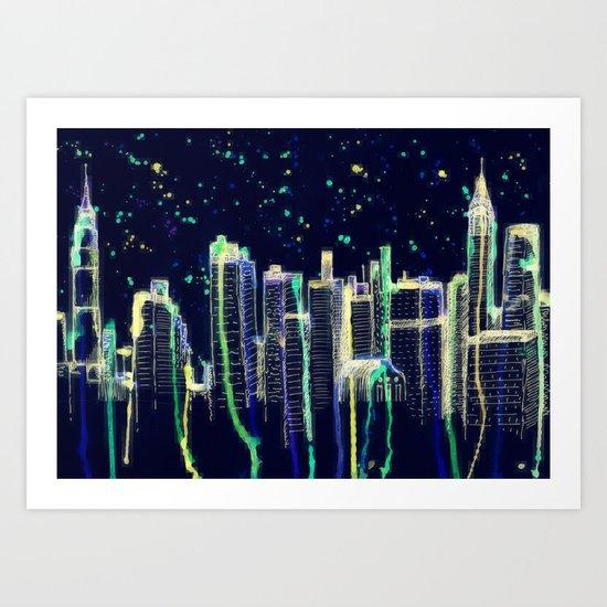 Dusk Falls Over Manhattan Art Print