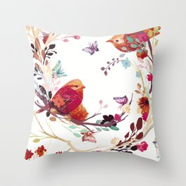 Flowers and birds  Throw Pillow