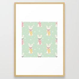 White rabbit Christmas pattern 001 Framed Art Print