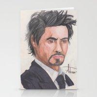robert downey jr Stationery Cards featuring Robert Downey Jr. by Adrian Casanova