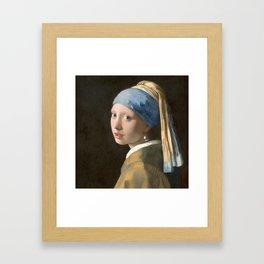 Johannes Vermeer - Girl with the pearl earring (1665) Framed Art Print