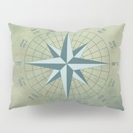 Compass Graphic on Grey Textured background Pillow Sham