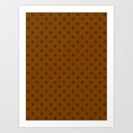 Black on Chocolate Brown Snowflakes Art Print