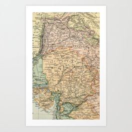 Vintage and Retro Map of India Art Print
